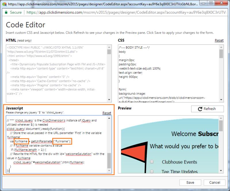 Code Editor with JavaScript fullName