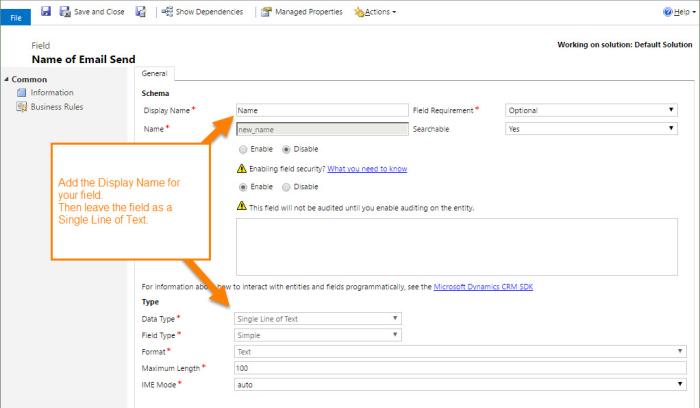Email Send - Create Field