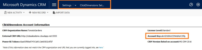 ClickDimensions account key